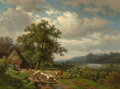 Fine Art - Painting, European:Antique  (Pre 1900), Alexander Joseph Daiwaille (Dutch, 1818-1888). A woodedlandscape with a drover and livestock on a track (collab. withEug...