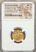 Ancients:Byzantine, Ancients: Heraclius (AD 610-641), with Heraclius Constantine andHeraclonas. AV solidus (19mm, 4.38 gm, 7h). NGC MS 5/5 - 3/5,graffito....