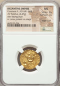 Ancients:Byzantine, Ancients: Constans II Pogonatus (AD 641-668). AV solidus (20mm,4.47 gm, 6h). NGC MS 4/5 - 3/5, edge scuff....