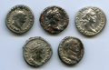 Ancients:Ancient Lots , Ancients: ANCIENT LOTS. Roman Imperial. Ca. AD 69-141. Lot of five(5) AR denarii. Choice Fine-XF.... (Total: 5 coins)
