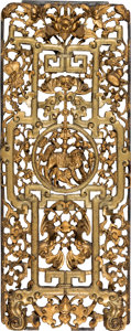 Asian:Chinese, A Chinese Carved and Reticulated Giltwood Panel. 26-1/2 x 10-3/4 x1-1/8 inches (67.3 x 27.3 x 2.9 cm). ...
