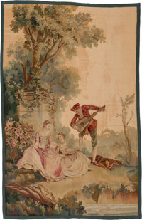 A Flemish Baroque-Style Tapestry Fragment with Genre Scene, 19th century 84 x 54 inches (213.4 x 137.2 cm)