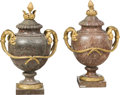 Decorative Arts, French:Other , A Pair of French Louis XVI-Style Gilt Bronze-Mounted Marble Urns,mid-19th century . 28-1/2 x 18 x 13 inches (72.4 x 45.7 x ...(Total: 2 Items)