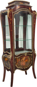 Furniture , A Louis XV-Style Vernis Martin Bombe Glazed Vitrine, late 19th century. 71-1/2 x 31 x 14-1/2 inches (181.6 x 78.7 x 36.8 cm)... (Total: 2 Items)