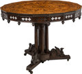 Furniture : French, A Gothic Revival-Style Marquetry Inlaid Center Table, 19th century and later. 32 x 41-1/2 inches (81.3 x 105.4 cm). ...