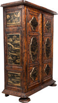 Furniture : French, A Large French Provincial Walnut Armoire Decorated with Chinoiserie Panels, 18th century. 87 x 67 x 29 inches (221.0 x 170.2...