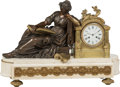 Clocks & Mechanical:Clocks, A Paul Garnier Neoclassical-Style Gilt and Patinated Bronze Clock on Marble Base, Paris, 19th century . Marks to face: PAU...