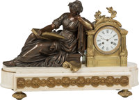 A Paul Garnier Neoclassical-Style Gilt and Patinated Bronze Clock on Marble Base, Paris, 19th century Marks to fa