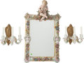 Ceramics & Porcelain, Continental:Modern  (1900 1949)  , A German Polychromed and Gilt Porcelain Girandole Mirror with a Pair of Three-Light Sconces on Gilt Bronze Backplates, late ... (Total: 3 Items)