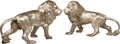 Decorative Arts, Continental:Other , A Large Pair of Silvered Bronze Lions. 30 x 48 x 17 inches (76.2 x 121.9 x 43.2 cm) (each, approximate). ... (Total: 2 Items)