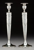 Silver Holloware, American:Candle Sticks, A Pair of American Reinforced Silver Candlesticks, 20th century .Marks: SILVER REINFORCED WITH CEMENT & STEEL R...
