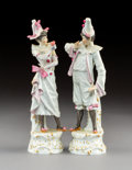 Decorative Arts, Continental:Other , A Pair of Meissen Polychromed and Gilt Porcelain Figurines,Meissen, Germany, late 19th century . Marks to male figurine: (c...(Total: 2 Items)