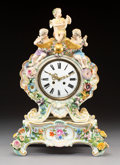 Ceramics & Porcelain, A Meissen Polychromed and Gilt Porcelain Figural Clock on Stand, Meissen, Germany, late 19th-early 20th century. Marks to cl...