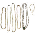 Estate Jewelry:Necklaces, Cultured Pearl, Jadeite Jade, Gold, Silver Jewelry. ... (Total: 6 Items)