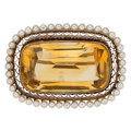 Estate Jewelry:Brooches - Pins, Citrine, Seed Pearl, Gold Brooch. ...