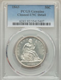 Seated Half Dollars, 1843 50C -- Cleaned -- PCGS Genuine. Unc Details. NGC Census: (4/56). PCGS Population: (3/58). CDN: $750 Whsle. Bid for pro...