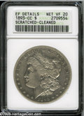 1893-CC $1--Scratched, Cleaned--ANACS. XF Details, Net VF20. A dipped rare date Silver Dollar that has a deep scratch ac...