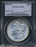Morgan Dollars: , 1896-O S$1 AU58 PCGS. Lightly worn on the highpoints, with smallhairlines on each side and a couple of noticeable abrasion...