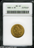 1885-S $5 MS60 ANACS. Nicely struck, with peach-gold surfaces and just a few minor contact marks scattered over each sid...