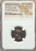Ancients:Oriental, Ancients: PARTHIAN KINGDOM. Mithradates II (121-91 BC). AR drachm (20mm, 4.24 gm, 12h). NGC Choice AU 4/5 - 5/5....