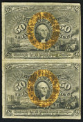 Fractional Currency:Second Issue, Fr. 1316 50¢ Second Issue Uncut Vertical Pair Fine.. ...