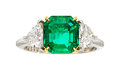 Estate Jewelry:Rings, Colombian Emerald, Diamond, Platinum, Gold Ring. ...