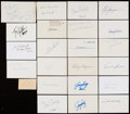 Autographs:Index Cards, Football Greats Signed Cuts, Index Cards, & Postcard Lot of 26....