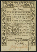 Colonial Notes:Rhode Island, Rhode Island May 1786 6d New.. ...