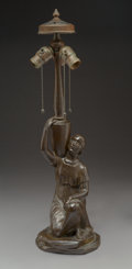 Art Glass:Other , A Handel Patinated Bronze Figural Water Bearer Lamp Base, early20th century. Marks: HANDEL. 25 inches (63.5 cm). ...