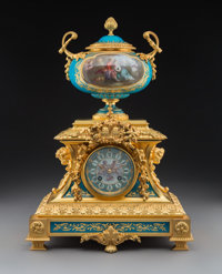 A Sèvres-Style Gilt Bronze and Cabochon-Mounted Porcelain Mantel Clock, France, circa 1900 Marks to movement: E...
