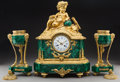 Decorative Arts, French:Other , A Three-Piece Louis XVI-Style Gilt-Bronze MountedMalachite-Veneered Clock Garniture . Marks to mechanism: 466C. 19-1/4... (Total: 3 Items)