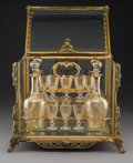 Decorative Arts, French:Other , A French Napoleon III Gilt Bronze and Beveled Glass Cave à Liqueur,19th century . 12 x 13-3/4 x 11-1/2 inches (30.5 x 34.9 ... (Total:20 Items)