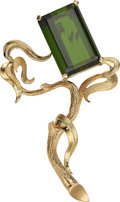 Estate Jewelry:Brooches - Pins, Tourmaline, Gold Brooch. ...