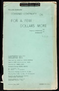 """Movie Posters:Western, For a Few Dollars More (United Artists, 1967). Fine/Very Fine. Continuity Script (8.5"""" X 14.25""""). Western.. ..."""