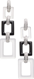 Estate Jewelry:Earrings, Diamond, Rock Crystal Quartz, Black Onyx, White Gold Earrings, Eli Frei. ...