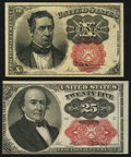 Fractional Currency:Fifth Issue, Fr. 1266 10¢ Fifth Issue Very Fine-Extremely Fine;. Fr. 1309 25¢Fifth Issue Choice About New.. ... (Total: 2 notes)