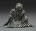 Asian:Chinese, A Chinese Pewter Seated Confucius Figure. 2-3/8 x 3 x 2 inches (6.0x 7.6 x 5.1 cm). ...