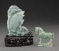 Asian:Chinese, Two Chinese Carved Jadeites Figures of a Fish and Horse, 20thcentury. 4-3/4 x 3-3/8 x 7/8 inches (12.1 x 8.6 x 2.2 cm) (fis...(Total: 3 Items)