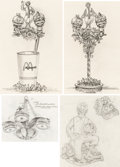 Original Comic Art:Miscellaneous, Ronald McDonald and Friends McDonaldland Concept Drawings OriginalArt Group of 4 (McDonald's/Setmakers, 1983).... (Total: 4 OriginalArt)