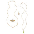 Estate Jewelry:Lots, Diamond, Peridot, Gold Jewelry. ... (Total: 4 Items)