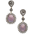 Estate Jewelry:Earrings, Diamond, Pink Sapphire, Seed Pearl, Gold, Silver Earrings. ...