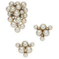 Estate Jewelry:Lots, Diamond, Cultured Pearl, White Gold Jewelry . ... (Total: 2 Items)
