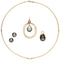 Estate Jewelry:Lots, South Sea Cultured Pearl, Gold Jewelry . ... (Total: 4 Items)