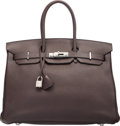 """Luxury Accessories:Bags, Hermes 35cm Cafe Clemence Leather Birkin Bag with Palladium Hardware. K Square, 2007. Condition: 3. 14"""" Width x 10..."""