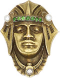 Estate Jewelry:Brooches - Pins, Egyptian Revival Diamond, Demantoid Garnet, Seed Pearl, Gold Brooch, Carter, Gough & Co.. ...