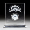 Art Glass:Lalique, A Lalique Clear and Frosted Glass Curious Cat Clock,post-1945. Marks: Lalique, France. 7-1/2 x 7-3/8 x 2-1/...