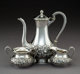 A Three-Piece S. Kirk & Son Silver Coffee Service, Baltimore, Maryland, post-1932 Marks: HAND DECORATED, S KIRK...