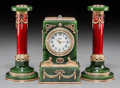 Decorative Arts, Continental:Other , A 14K Vari-Color Gold, Diamond, Pearl, Guilloche Enamel, SpinachJade, and Cabochon-Mounted Clock with Pair of Candlesticks in...