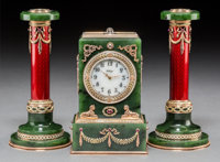 A 14K Vari-Color Gold, Diamond, Pearl, Guilloche Enamel, Spinach Jade, and Cabochon-Mounted Clock with Pair of Candlesti...
