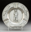Silver Holloware, American, A Gorham Special Order Silver Cigar Ashtray with PinkertonDetective Agency Motif, Providence, Rhode Island, circa 1920.Mar...